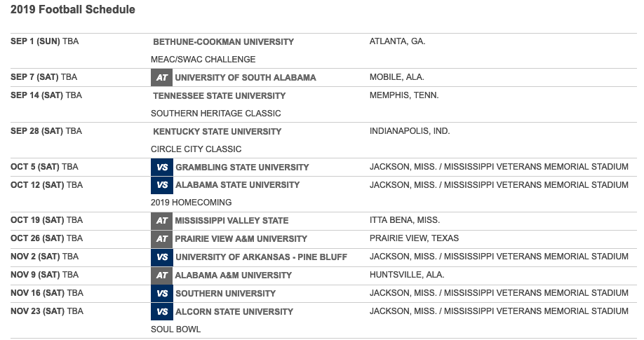 Swac Football Schedule 2019 Jackson State's 2019 football schedule released | HBCU Sports