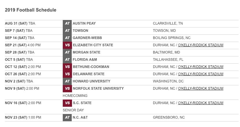 North Carolina Central announces 2019 football schedule ...North Carolina Football Schedule