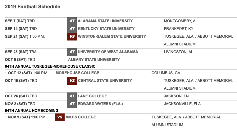 Tuskegee Releases 2019 Football Schedule Hbcu Sports
